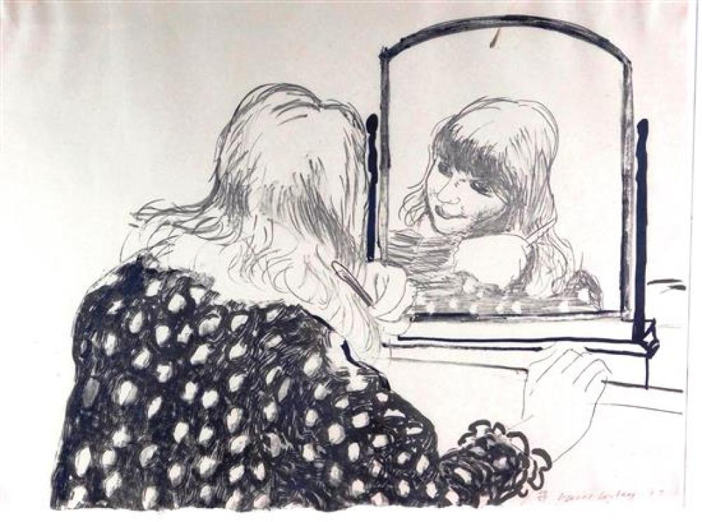 """*David Hockney (American, b. 1937), """"Ann Combing Her Hair"""", 1979, lithograph, ed 49/75, depicts young girl combing her hair and look..."""