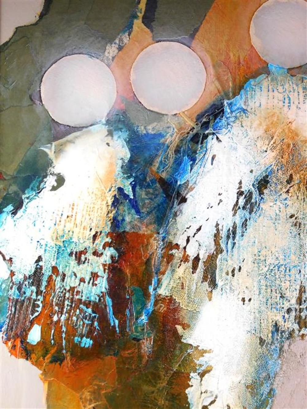 """James L. Grabowski (American, b. 1944), """"Time Sequence Study"""", mixed media on canvas, depicts abstract composition with four white c..."""