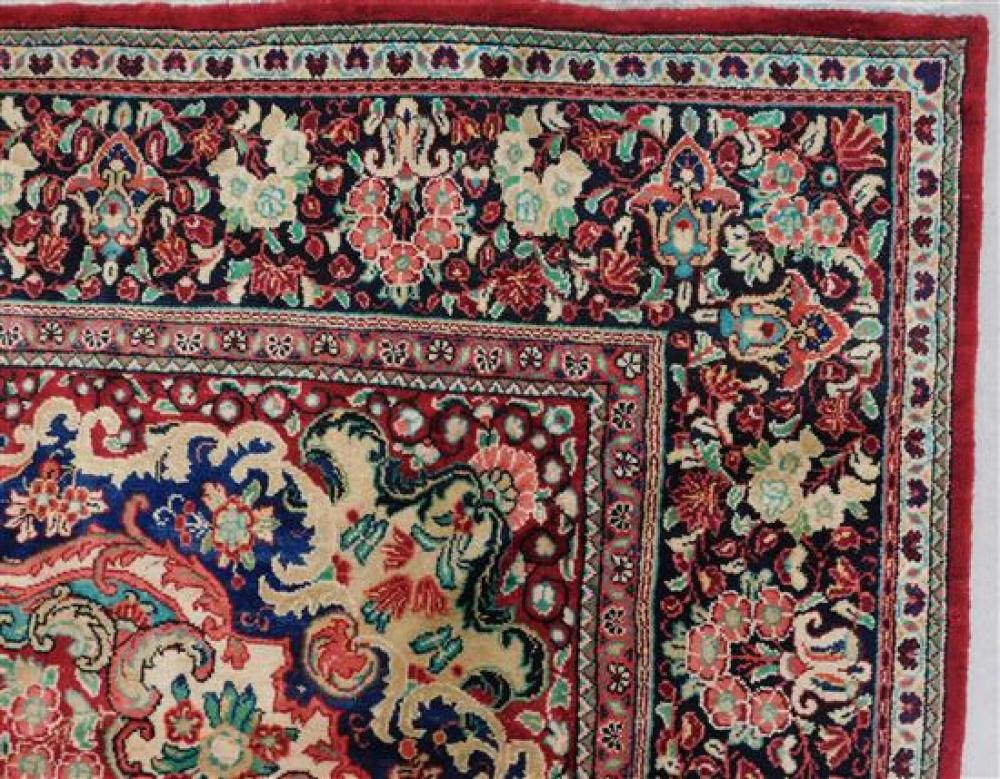 """RUG: Semi-antique Persian Mahal, 10' 6"""" x 13' 3"""", hand-made, 100% wool, polychrome with classic geometric design, wear consistent wi."""