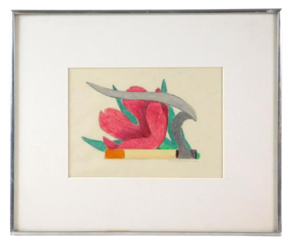 """Tom Wesselmann (American, 1931 - 2004), """"Study for Tulip and Smoking Cigarette (Version #2)"""", 1982, pencil and colored pencil on arc..."""