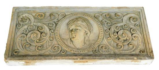 GARDEN: Edwardian style cement frieze, relief head centered in scroll design, wear consistent with age and outside use, including sc...