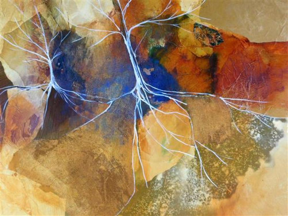 James L. Grabowski (American, b. 1944), mixed media on canvas, depicts landscape scenes, blue and gold with white accents, wear cons...