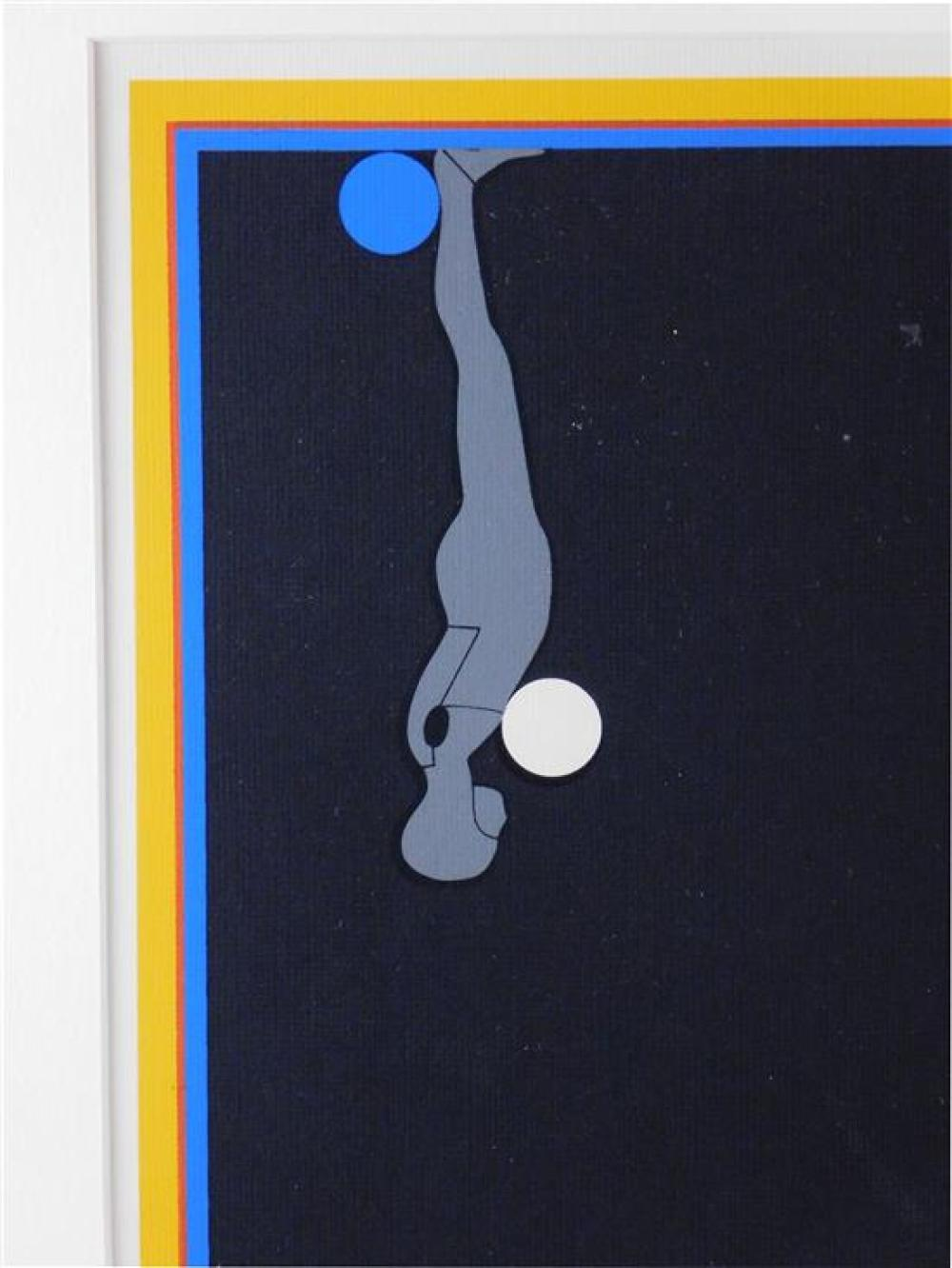"""Ernest Trova (American, 1927 - 2009), """"Four Figures and a Sphere"""", c. 1969, silkscreen, edition no. 87/150, from the """"Falling Men"""" s..."""