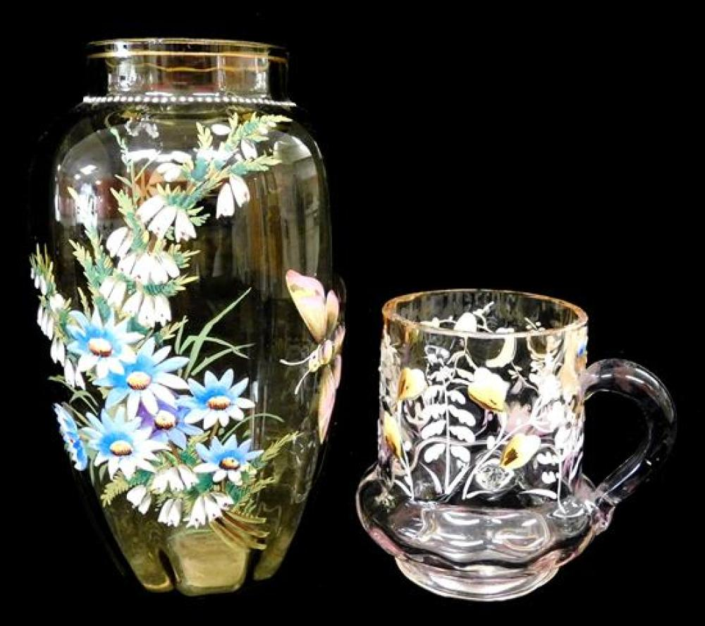 GLASS: Enameled art glass vases, 19th/20th C., six pieces, including: one opaque red cased, multi-colored design with heron, bees, a...