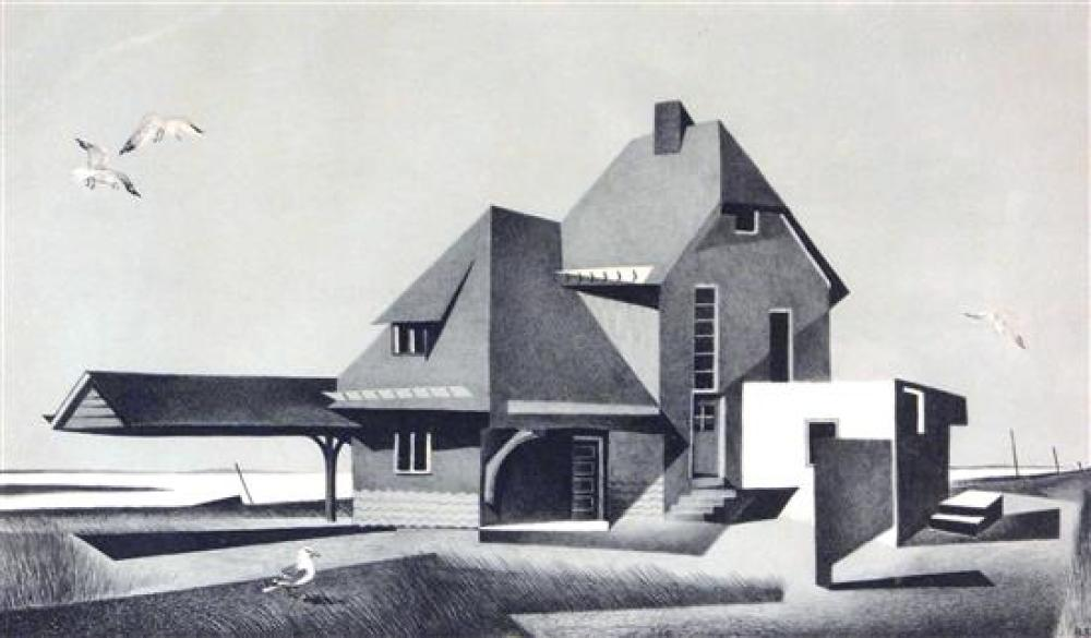 """Benton M. Spruance (American, 1904-1967), """"Last Stop - Beach Haven"""", lithograph, ed. 30, building with large portico sits at water's.."""