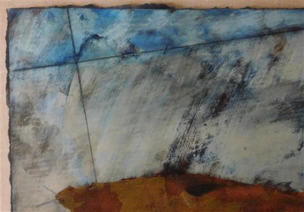 """""""Deutisch"""", two framed pieces, mixed media on what appears to be handmade paper with deckled edges, the first with copper foil accen..."""
