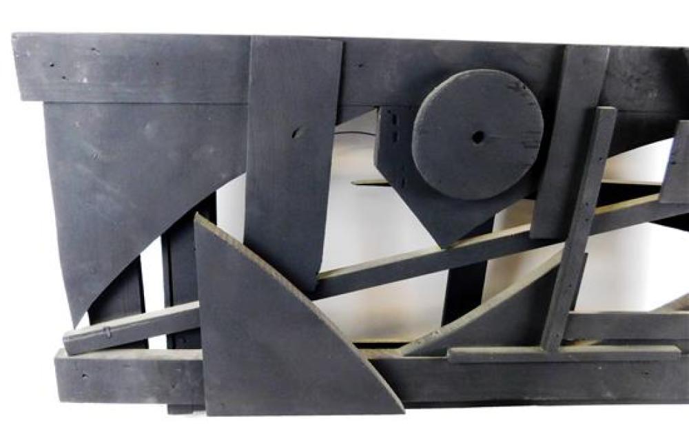 Louise Nevelson (Russian/American, 1899 - 1988), Untitled, 1959, Cubist monochromatic wood assemblage, painted black finish, horizon...