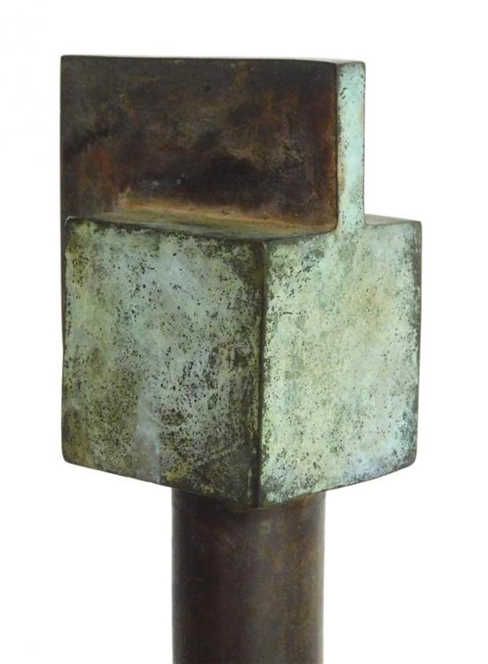 """Modern metal sculpture, curved rod with small block at top and flared ovoid base, wear consistent with age and use, 56"""" h. x 8"""" w. x..."""