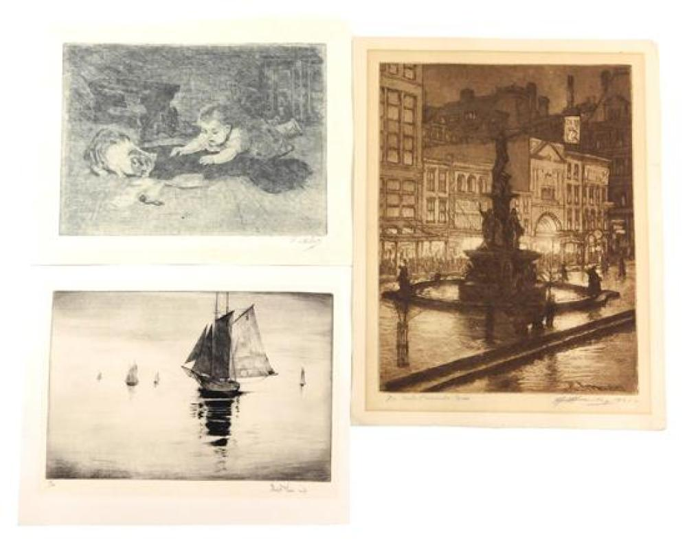 "Various artists, three loose etchings: Edward Timothy Hurley (United States) 1869-1950. ""Tyler Davidson Fountain, Cincinnati"". Etchi..."