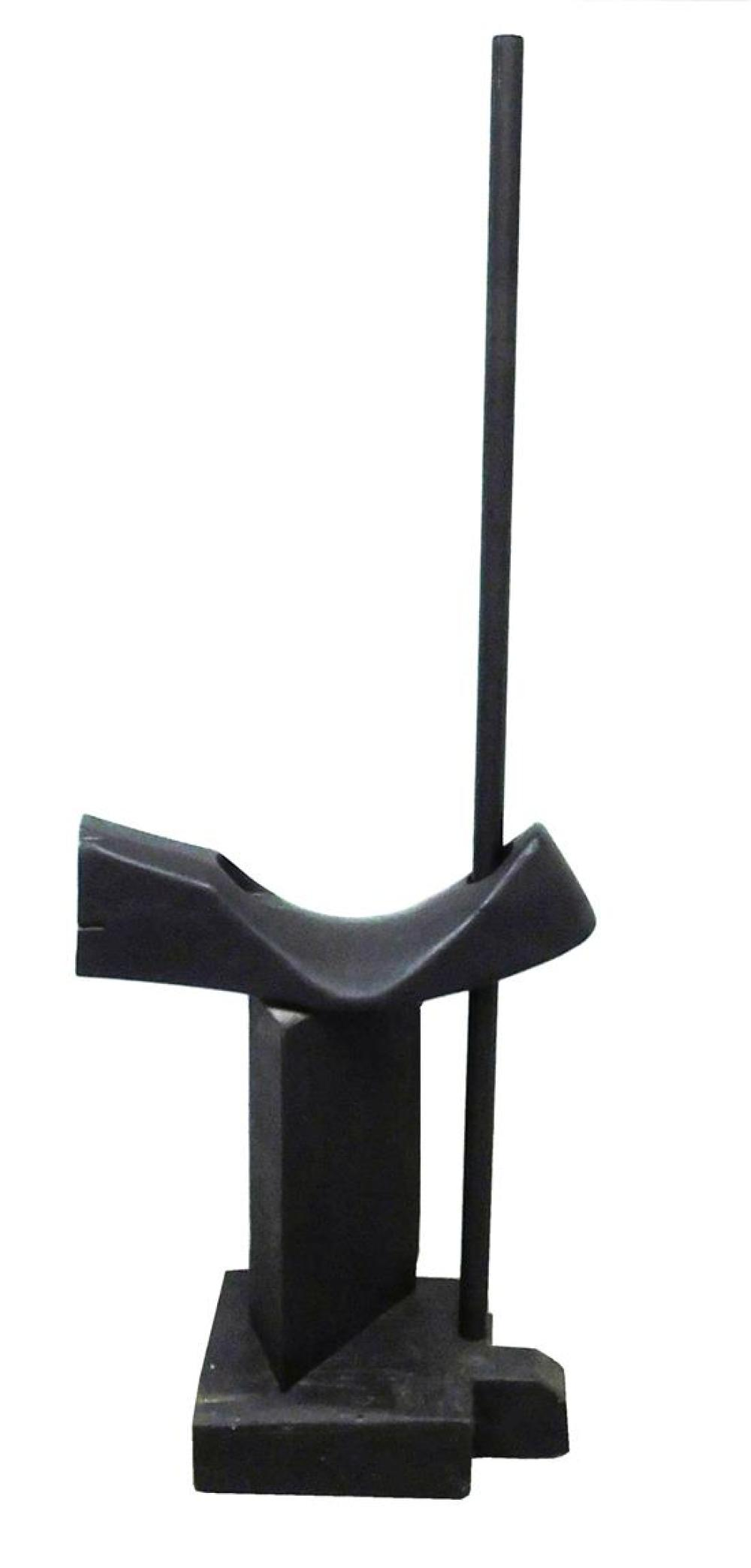 """Louise Nevelson (Russian/American, 1899 - 1988), """"Animal Form"""", 1951, Cubist standing sculpture of monochromatic wood, painted black..."""