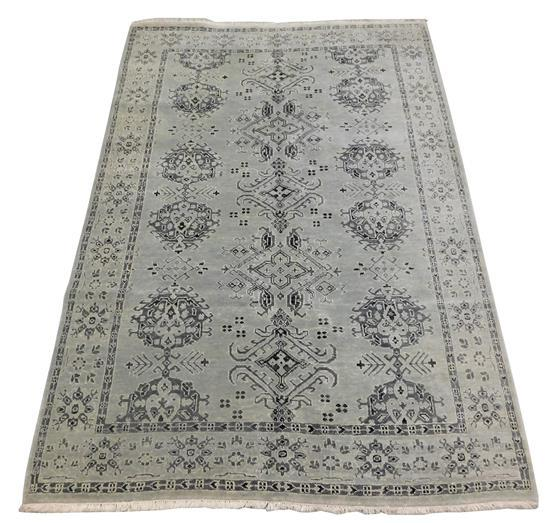 RUG: Laristan Sultanabad 6' x 9', hand-made, 100% wool, polychrome with classic geometric design, wear consistent with age and use,..