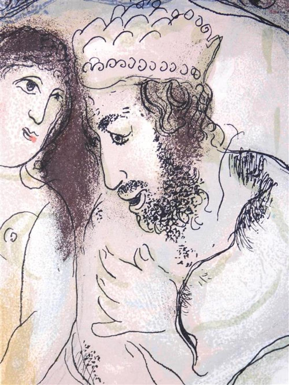 """Marc Chagall (Russia/ France, 1887 - 1985), """"Sarah and Abimelech"""", 1960, color lithograph, Mourlot 239, Ref: Andres Suret, """"Arc Chag..."""
