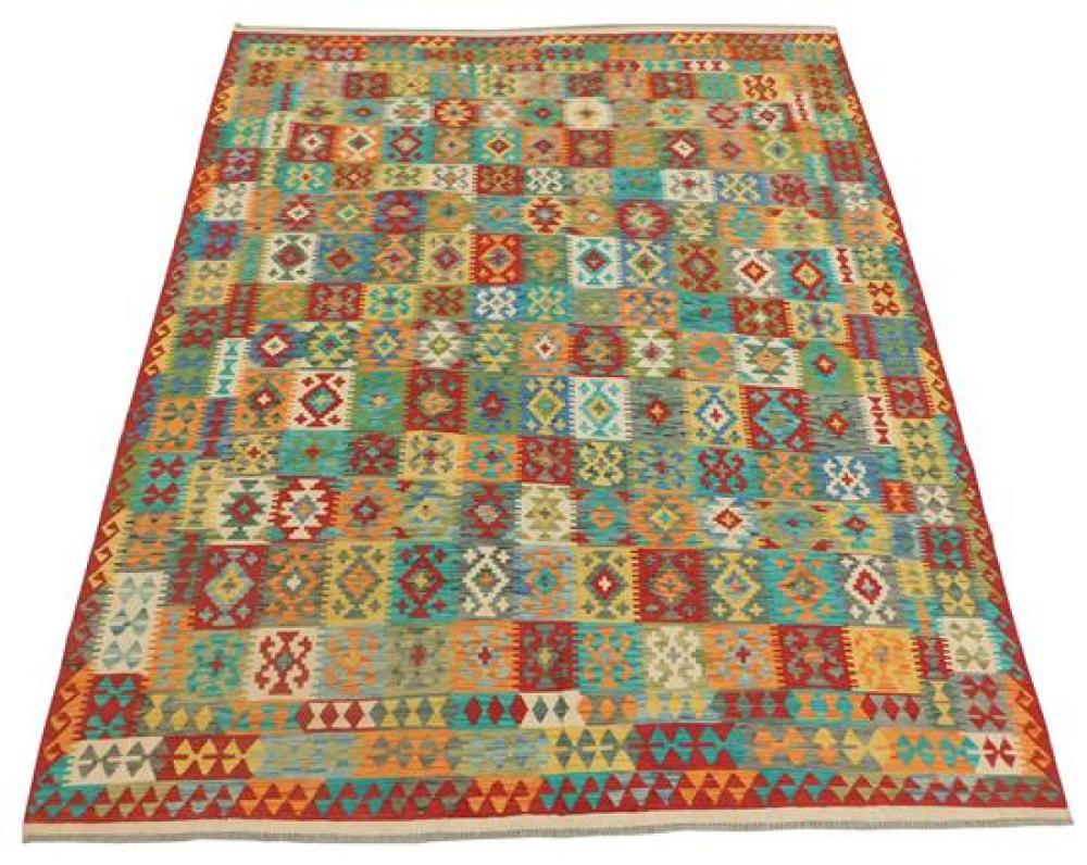 """RUG: Turkish Kilim 8' 2"""" x 9' 10"""", hand-made, 100% wool, polychrome with classic geometric design, wear consistent with age and use,."""