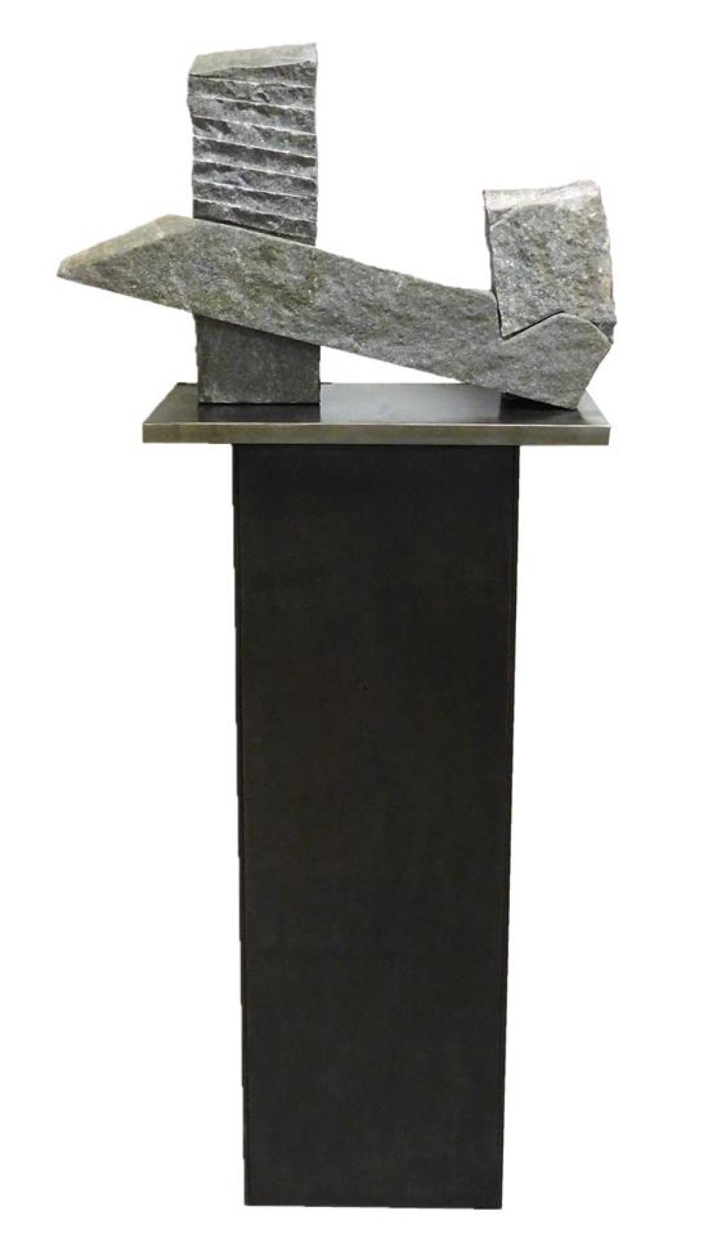 """Harry Gordon (American, b. 1960), modern tri-part stone sculpture, a maquette of larger installment titled """"Here I Am"""" created in 19..."""