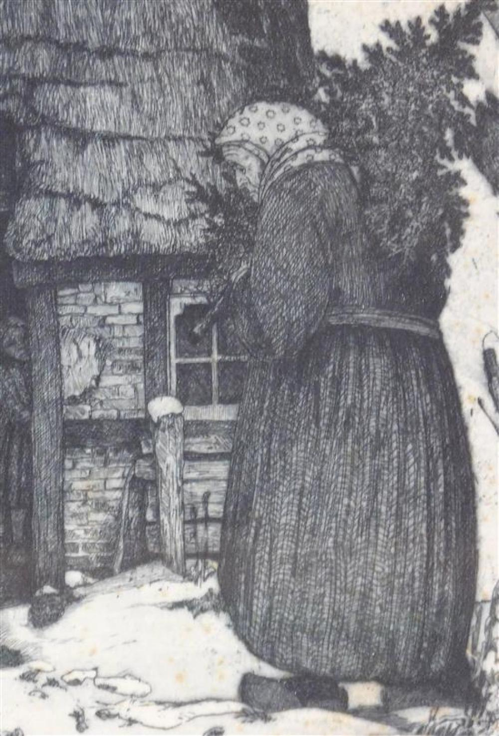"""Heinrich Vogeler (Germany, 1872-1942), """"Weihnachten"""", aquatint, 1912, ed. 30, an older woman approaches a thatch-roofed cottage with..."""