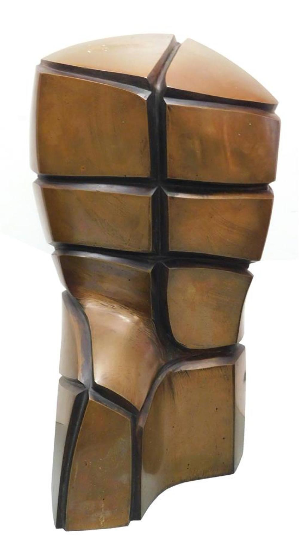 """Jan Sliwka (Polish, b. 1946), """"Torso"""", bronze sculpture of faceted torso with right leg forward, signed and numbered verso near base..."""