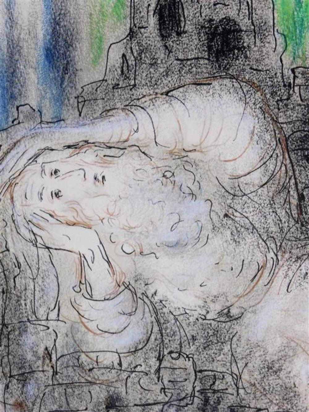 In the manner of Marc Chagall (Russian-French, 1887- 1985), color print, elderly man holds his head and reclines against grey forms...