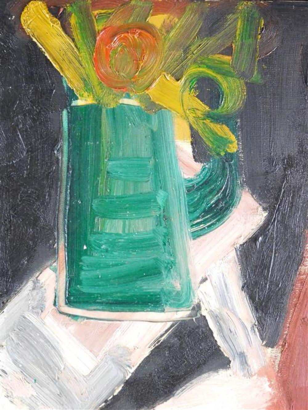 """Felix Pasilis (American, b. 1922), oil on canvas, """"Greek Warrior"""" , depicts a forest green pitcher with flowers on top of a lighter..."""