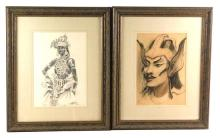 """Carl Werntz (American, 1874-1944), two graphite drawings framed behind glass, the first of a """"Devil Dancer"""" in highly decorated outf..."""
