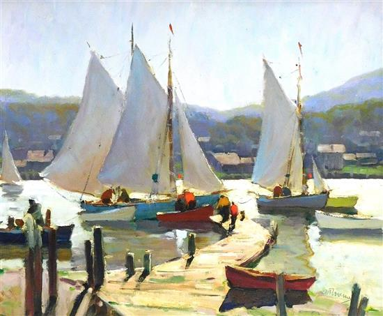"Anthony Thieme (Dutch-American, 1888-1954), ""Against the Light"", oil on canvas board depicting sail boats moored at end of pier, pri..."