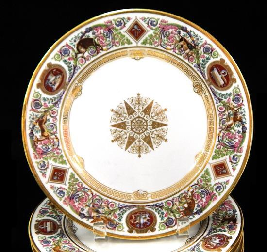 """19th C. Louis Philippe Sevres """"Chateau de Fontainebleau"""" pattern dinner service, one hundred-twenty pieces, each decorated with foli..."""