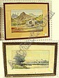"""Two watercolors, the first a George L. Herdle (American, 1868-1922), Dutch landscape with a boat tied to a fence and a windmill in the distance, signed lower left, foxing, ss: 9 1/2"""" X 19 1/4""""; the other a landscape with a mountain in the distance"""
