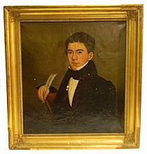 """Hannah Thurber Fairfield (American, 1808-1894), oil on canvas, """"Charles Richmond Jnr., Age 18 Years,"""" 1837, portrait of young seated..."""