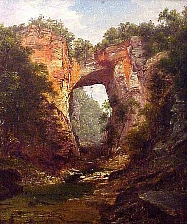 """David Johnson (American, 1827-1908), oil on canvas, """"Natural Bridge, Virginia"""", signed lower right with artist's monogram and dated 1860 . 71, relined, restoration c. 1963 through Wadsworth Atheneum, new stretcher, inpainting at two repaired tears"""