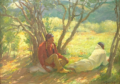 Joseph Henry Sharp (American, 1859-1953), oil on canvas board, two American Indian figures resting in shade under trees with hills in distance, signed LR, board slightly warped, no apparent restoration or inpainting under black light, in a stepped