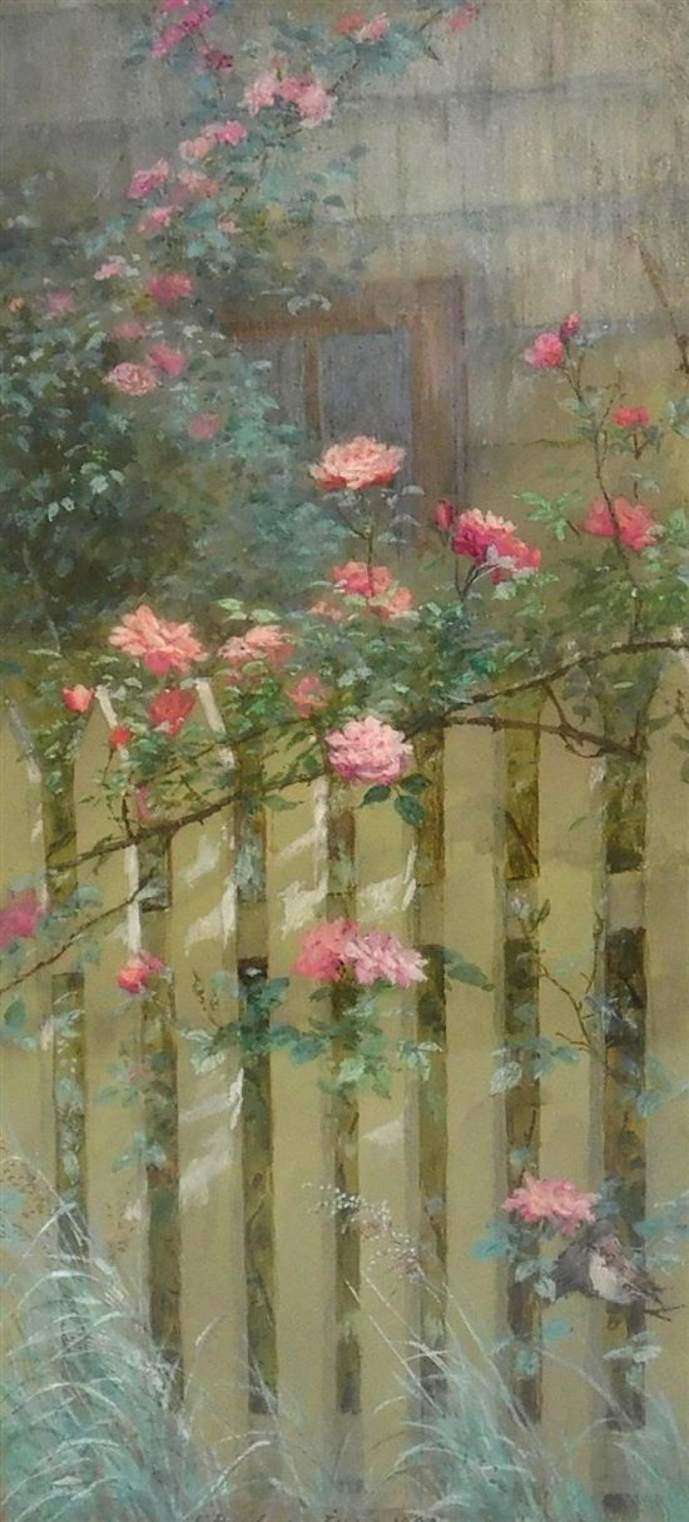 Fidelia Bridges (American, 1834 - 1923), watercolor and gouache on tan paper, 1881, oblong composition of picket fence and flowering...