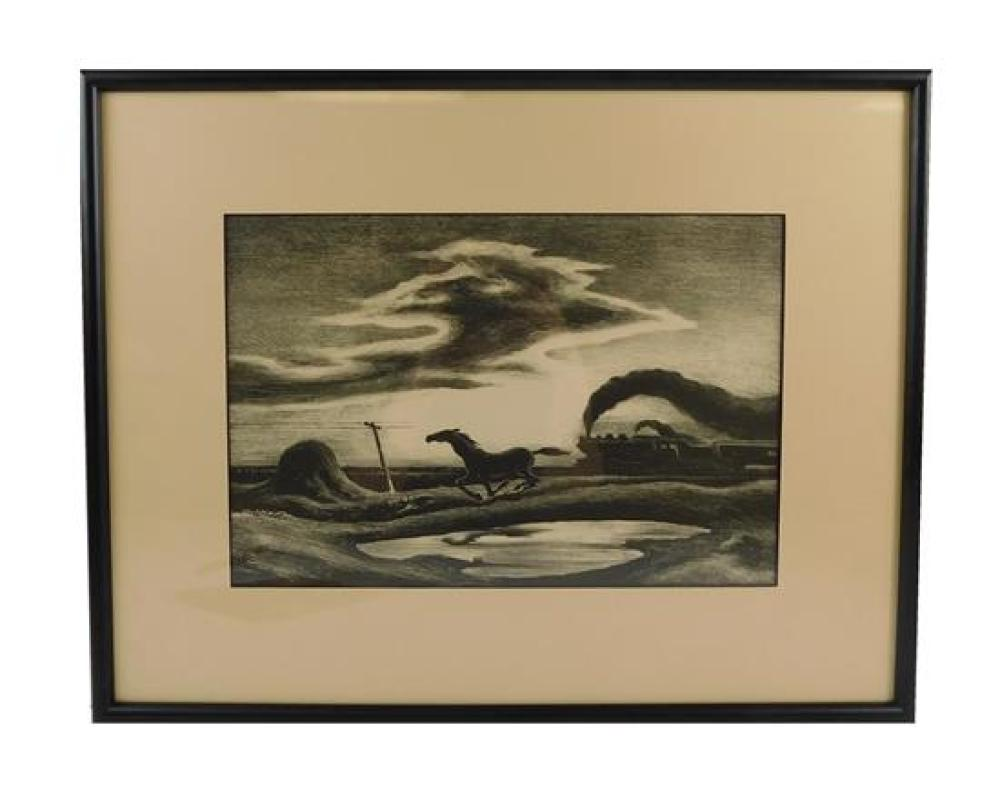 "Thomas Hart Benton (American, 1889-1975), ""Homeward Bound (The Race)"", lithograph, ed. 250, Fath 55, detached AAA label, depicts hor..."