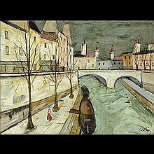 CHARLES LEVIER European City Oil on canvas