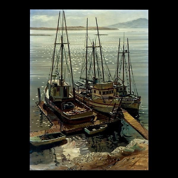 Fil Mottola, California Art, Harbor Scene Signed