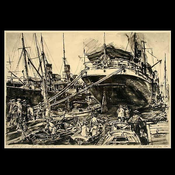 Carl Heilborn. Cal Art. Waterfront scene. W/C.