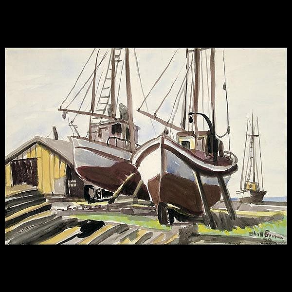 Am. Art. 20th c. Boats in Dray Dock. Watercolor.