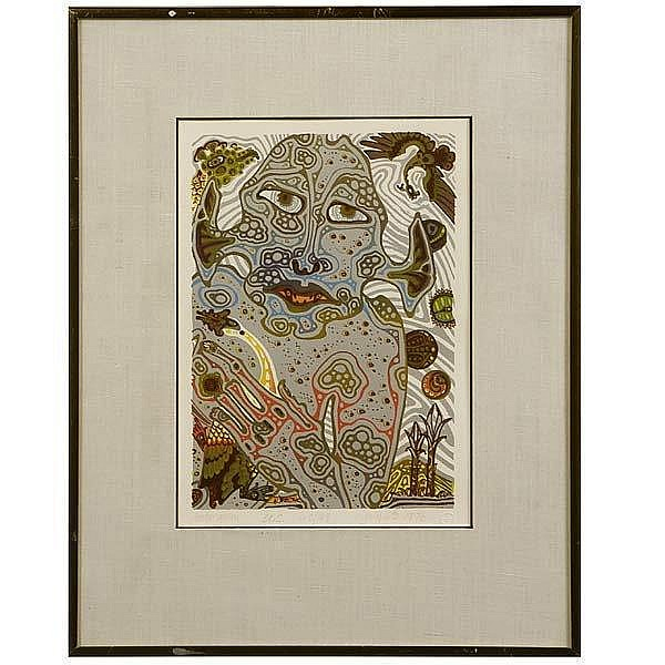 Jesse Allen, Color Serigraph, Ape Holding Goose.