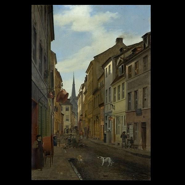 Eduard Gaertner, German Street Scene 1831