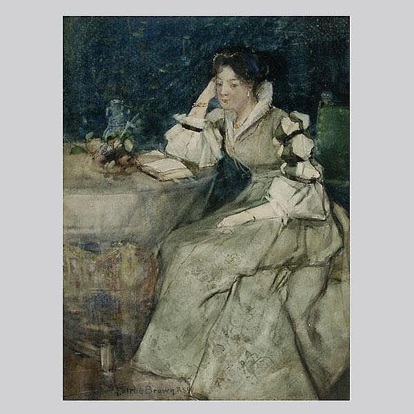 William F Brown. Portrait of a Woman. Watercolor.