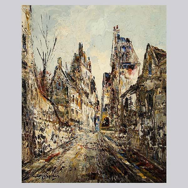 C. CHARPIDES. Impressionist  street scene. Oil
