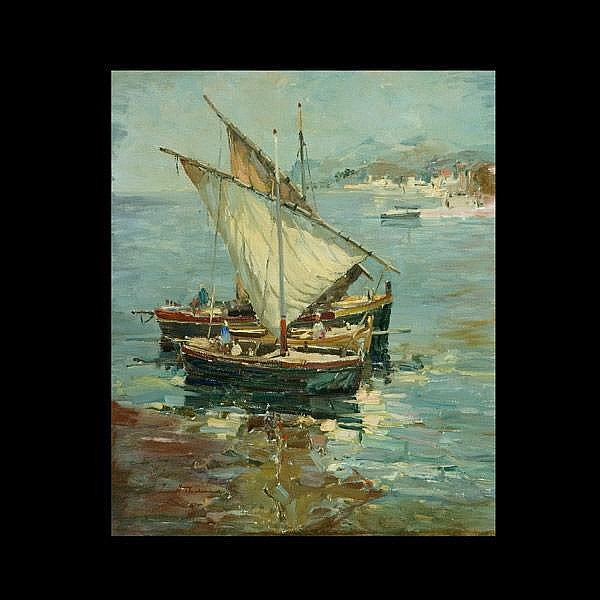 Wilhelm Thelen, Fishing Boats German Art Signed