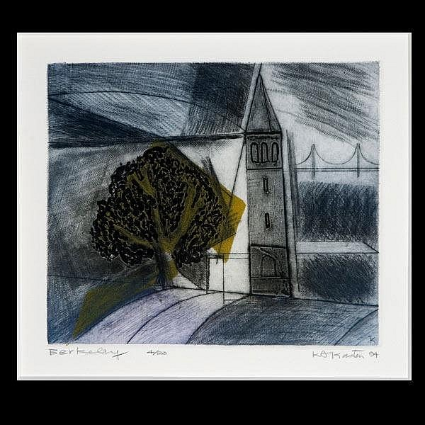 Karl Kasten, Berkeley School, etching 1994 Signed