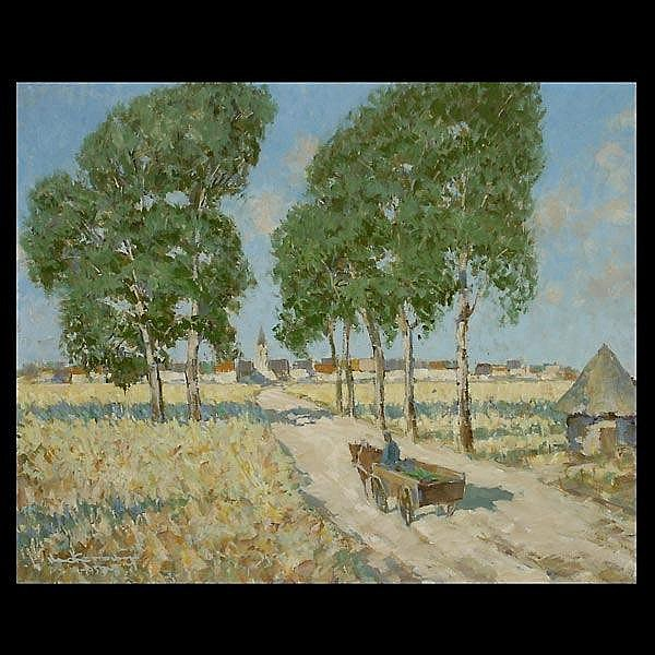 Fred Korburg. Cal Art. Dutch Countryside. Oil.