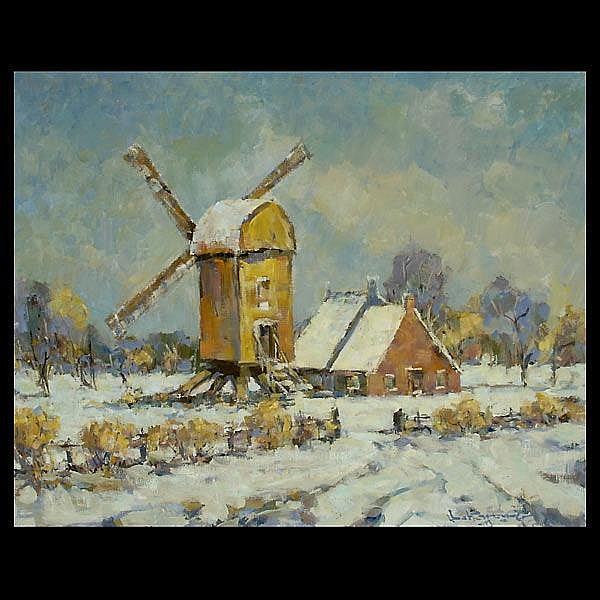 Fred Korburg. Cal Art. Dutch Winter Scene.