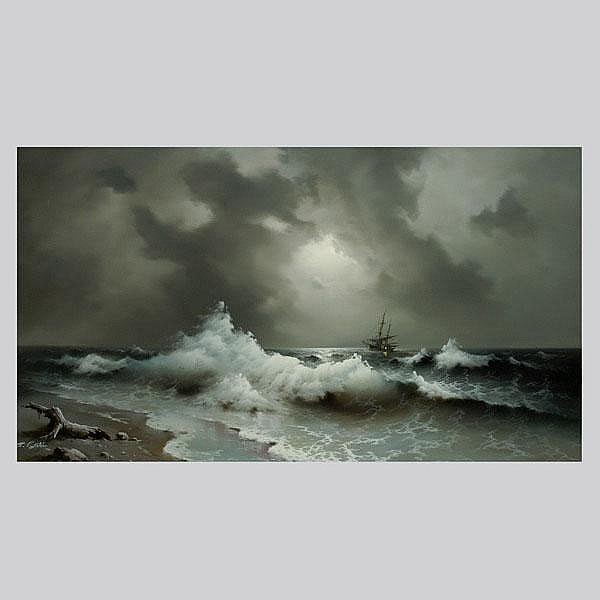 EUGENE GARIN. SEASCAPE, Oil on canvas