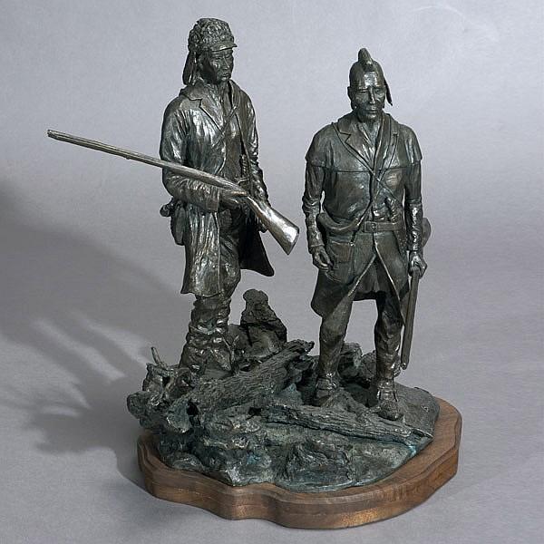 American Western Bronze Sculpture, Indians 1974