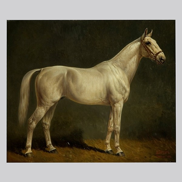 Herbert Schlegel, German Art. Race Horse Oil