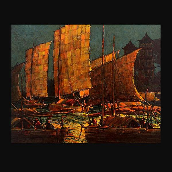Raymond Nott oil modern chinese boats china art