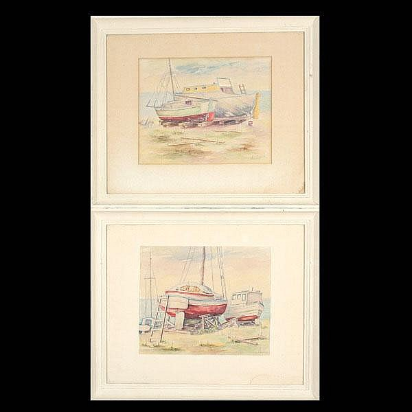 John MacQuarrie, Two works of boats, Watercolors