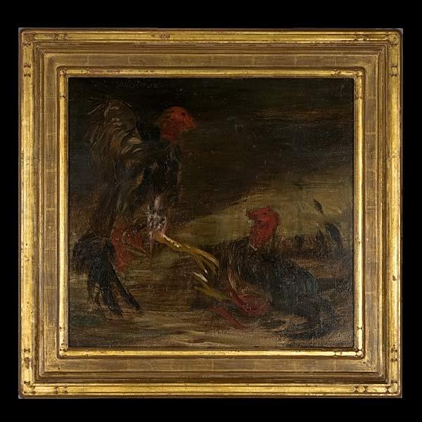 Surendorf, Californian Art, Cock Fight, Oil