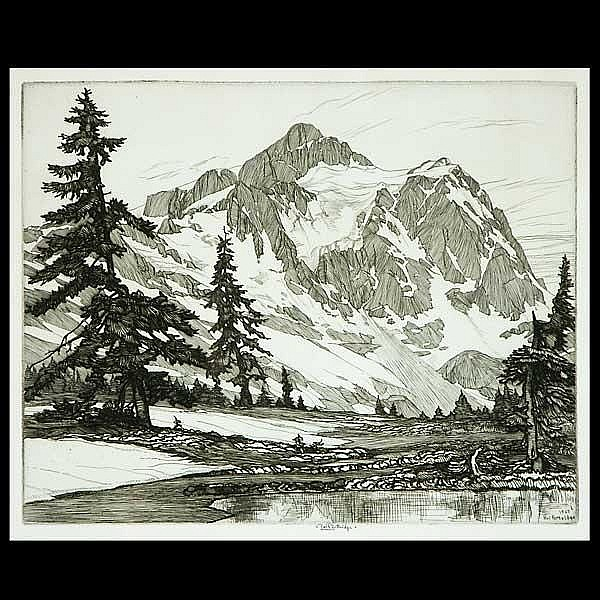 Roi Partridge Etching Mountain Landscape
